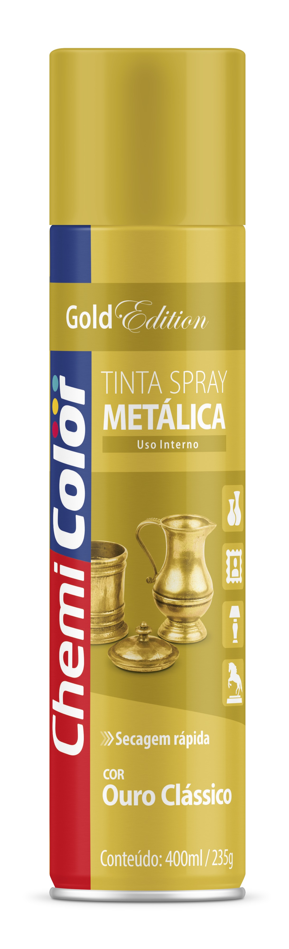 SPRAY OURO METALICO 250G CHEMICOLOR